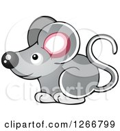 Clipart Of A Cute Gray Mouse Royalty Free Vector Illustration