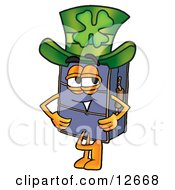 Clipart Picture Of A Suitcase Cartoon Character Wearing A Saint Patricks Day Hat With A Clover On It