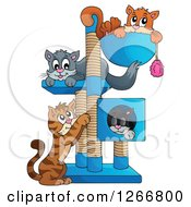 Clipart Of Four Cats Playing And Resting On A Tree Royalty Free Vector Illustration