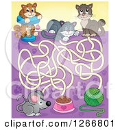 Clipart Of A Cat Maze Leading To Yarn Pet Food And A Mouse Royalty Free Vector Illustration