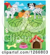 Clipart Of A Dog Maze Leading To A Bone Food Bowl And House Royalty Free Vector Illustration