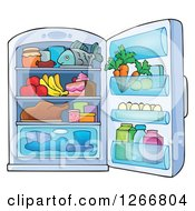 Clipart Of A Full Refrigerator Royalty Free Vector Illustration