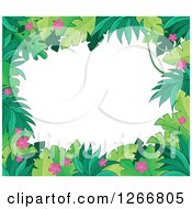 Clipart Of A Border Of Green Jungle Foliage And Pink Flowers Over White Text Space Royalty Free Vector Illustration