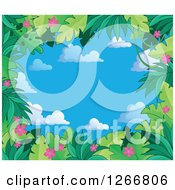 Clipart Of A Border Of Green Jungle Foliage And Pink Flowers Over Sky Text Space Royalty Free Vector Illustration