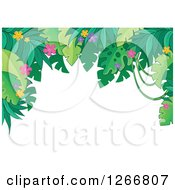 Clipart Of A Border Of Green Jungle Foliage And Colorful Flowers Over White Text Space Royalty Free Vector Illustration