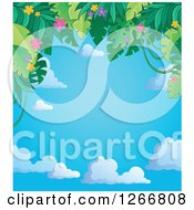 Clipart Of A Border Of Green Jungle Foliage And Colorful Flowers Over Sky Text Space Royalty Free Vector Illustration