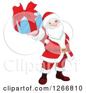 Clipart Of Santa Claus Holding Up A Blue And Red Christmas Gift Royalty Free Vector Illustration by Pushkin