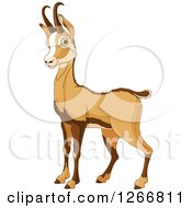 Clipart Of A Cute Alert Rupicapra Antelope Chamois Royalty Free Vector Illustration