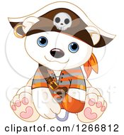 Clipart Of A Cute Baby Polar Bear In A Pirate Halloween Costume Royalty Free Vector Illustration