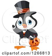 Clipart Of A Cute Baby Penguin In A Halloween Costume Royalty Free Vector Illustration