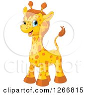 Clipart Of A Cute Happy Blue Eyed Baby Giraffe Royalty Free Vector Illustration