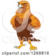 Clipart Of A Majestic Golden Eagle With His Wings On His Hips Royalty Free Vector Illustration by Pushkin