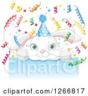 Clipart Of A Cute White Bunny Rabbit With A Party Hat And Ribbon Confetti Over A Blue Sign Royalty Free Vector Illustration