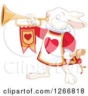 Clipart Of The Alice In Wonderland White Rabbit Herald Announcing With A Trumpet Royalty Free Vector Illustration by Pushkin