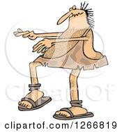 Clipart Of A Hairy Caveman Sleepwalking Royalty Free Vector Illustration