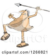Clipart Of A Hairy Caveman Throwing A Spear Royalty Free Vector Illustration by djart