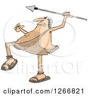Hairy Caveman Throwing A Spear