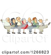 Clipart Of A Can Can Chorus Line Of Business Men And Women Dancing Royalty Free Vector Illustration by djart