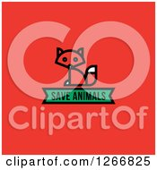 Clipart Of A Sitting Fox With A Save Animals Banner On Red Royalty Free Vector Illustration