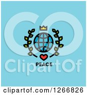 Crown Over A Grid Globe With Leaves And Heart Over Peace Text On Blue