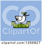 Clipart Of A White Dove With A Branch Over A Peace Banner On Blue Royalty Free Vector Illustration by elena