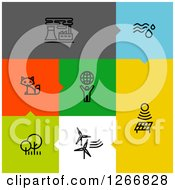 Clipart Of Black Ecology Icons On Colorful Tiles Royalty Free Vector Illustration