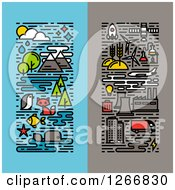 Clipart Of Vertical Ecology Deisgns Royalty Free Vector Illustration