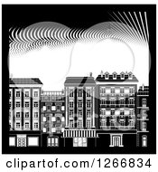 Black And White City Buildings With A Border And Dots