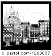 Clipart Of Black And White City Buildings In Montmarte Royalty Free Vector Illustration