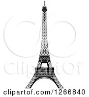 Clipart Of A Black And White Eiffel Tower Royalty Free Vector Illustration