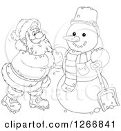 Clipart Of Black And White Santa Claus Finishing Up A Christmas Snowman Royalty Free Vector Illustration