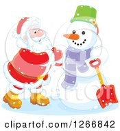 Clipart Of Santa Claus Finishing Up A Christmas Snowman Royalty Free Vector Illustration