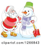 Clipart Of Santa Finishing Up A Christmas Snowman Royalty Free Vector Illustration by Alex Bannykh
