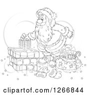 Clipart Of Black And White Santa Claus Putting A Gift In A Chimney Royalty Free Vector Illustration