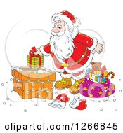 Clipart Of Santa Putting A Gift In A Chimney Royalty Free Vector Illustration