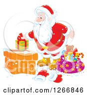 Clipart Of Santa Claus Putting A Gift In A Chimney Royalty Free Vector Illustration