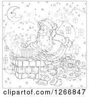 Clipart Of Black And White Santa Claus Putting A Gift In A Chimney On Christmas Eve Royalty Free Vector Illustration