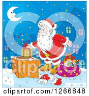 Clipart Of Santa Putting A Gift In A Chimney On Christmas Eve Royalty Free Vector Illustration