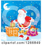 Clipart Of Santa Claus Putting A Gift In A Chimney On Christmas Eve Royalty Free Vector Illustration