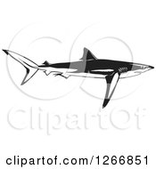 Clipart Of A Black And White Shark Swimming In Profile Royalty Free Vector Illustration