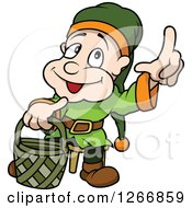Happy Male Dwarf Carrying A Basket And Holding Up A Finger