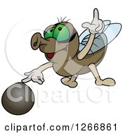 Clipart Of A House Fly With A Rock Royalty Free Vector Illustration