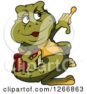 Clipart Of A Female Toad Holding A Book And Pointing Royalty Free Vector Illustration by dero