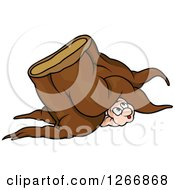 Clipart Of A Worm Peeking Out From Under A Tree Stump Royalty Free Vector Illustration by dero
