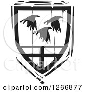 Clipart Of A Black And White Woodcut Heraldic Flying Ravens Shield Royalty Free Vector Illustration