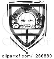 Clipart Of A Black And White Woodcut Heraldic Sun Shield Royalty Free Vector Illustration by xunantunich