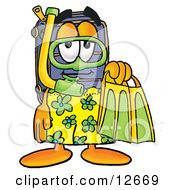 Clipart Picture Of A Suitcase Cartoon Character In Green And Yellow Snorkel Gear