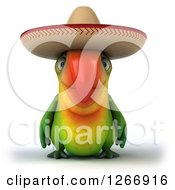 Clipart Of A 3d Green Mexican Parrot Royalty Free Illustration