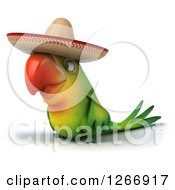Clipart Of A 3d Green Mexican Parrot Facing Left Royalty Free Illustration