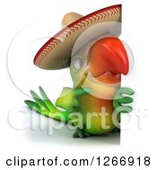 Clipart Of A 3d Green Mexican Parrot Pointing Around A Sign Royalty Free Illustration